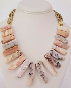 Panacea Pink Jasper Stone Nieman Marcus Statement Necklace