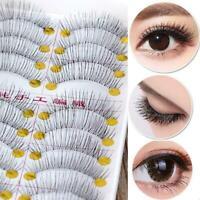 10Pairs Natural Long Black Fake False Handmade Eyelashes Lashes Makeup Eye F2L3
