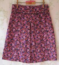 Rare! Vtg 60s 70s *Psychedelic Floral* Cord Velvet Skirt Pink Purple Brown S/M