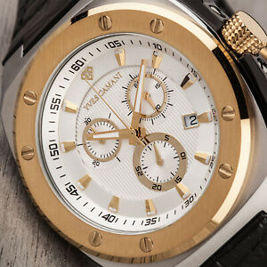 YVES CAMANI Quentin Mens Watch Stainless Steel Gold Chronograph New