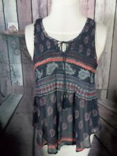 """""""NO BOUNDARIES"""" Tank Top, Size Large, Elastic Stretch on Top, Sheer, Racer Back"""