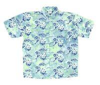"Rum Reggae Men Large 50"" Short Sleeve Button Shirt Cotton Fish Marlin Ocean"