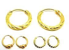 9ct Gold Plated Hoop Hinged Sleeper Hoops Earrings Gift Jewelry 1Pair