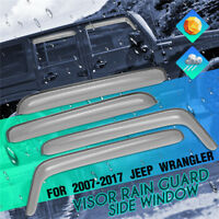 Window Visor Rain Guard Deflector Sun Roof For Jeep/Wrangler 2007-2017 4 Door