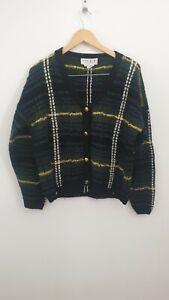 Vintage Studio Michelle Stuart Green Check Wool Knit Cardigan UK Size 12 -14