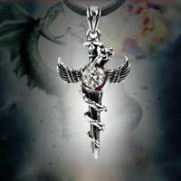 top cosplay - stahl angewandte engel flügel halskette schlange kreuz anhänger
