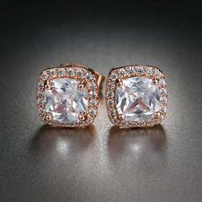 Rose Gold Plated Square Princess Cut Halo Morganite .925 Sterling Silver Earring