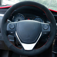 Top Black Suede Steering Wheel Hand-stitch on Wrap Cover For Toyota RAV4 2013