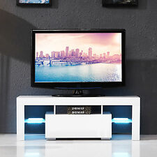 White High Gloss LED Light Shelves TV Stand Unit Cabinet w/Drawer Console