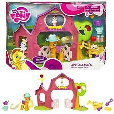 My Little Pony FIM RARE Applejack Sweet Apple Barn Farm Figure Playset +Accessor