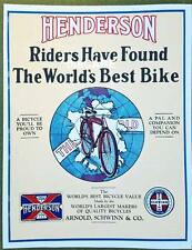 SCHWINN HENDERSON antique bicycle catalog brochure NEW SCAN