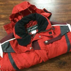 SPYDER Zip & Snap Up Red Hooded Snowboarding Ski Jacket Men's Size Large