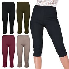 Women Ladies Ribbed Cropped Not See Through Thick Material 3/4 Jeggings Leggings