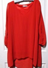 LADIES RED LONG OPEN SLEEVED BLOUSE SIZE 2XL