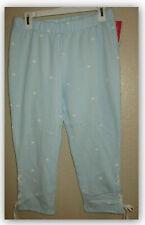 Woman's Sleep Lounge Fleece Capri Pants Pajama Soft Blue w White Bee (S)