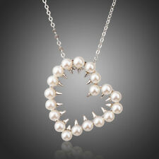 Long Chain Pendant Necklaces (N858-46) White Gold Color Pearl Heart