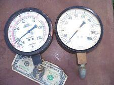 "pair 6"" Marsh Pressure Gauges Ammonia Vacuum Steampunk Glass Hubbell 150 Psi"