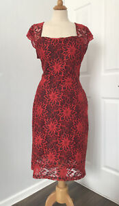 JOE BROWNS Red Lace Hourglass Midi Dress UK 16 Curvy Figure Enhancing IMMACULATE
