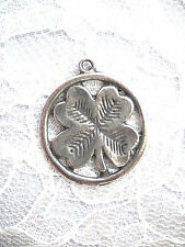 NEW LUCKY ISHISH 4 LEAF CLOVER LEAF INSIDE ROUND CAST PEWTER PENDANT NECKLACE