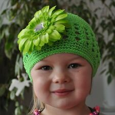 Crochet Hat + Flower Green Baby Hat 100% Cotton Hair Clip Size L 2-5 Years NEW