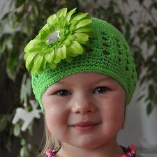casquette crochet + fleur vert chapeau de bébé 100% coton Pince à cheveux taille