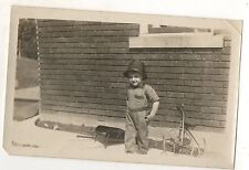 Boy, Toddler with Tricycle, Toy Wheel Barrow Original Antique Photograph