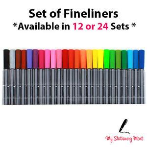 10 12 20 24 Fineliner Pen Set Fine Liner Colouring Fineliners Assorted Colours
