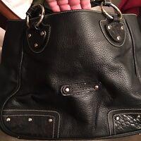 NWOT large Puntotres black designer purse all leather made in Spain