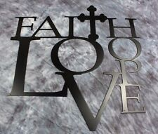 "Faith Love and Hope with Cross Metal Wall Art 18"" Black"