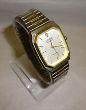 Men's Nelsonic Diamond Accent ANalog Two Tone Watch New Battery Q 804D 012 2035