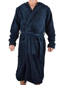 Tommy Hilfiger Herren Bademantel mit Kapuze Hooded Bathrobe 2S87905573 Blau XL