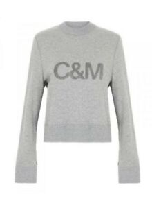 Camilla Marc C & M Womens Bianca Crew Neck Sweater Jumper Pullover Grey Size 8