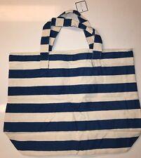 Macy's X Large Blue White Striped Tote Shopper Beach Bag Handbag NEW