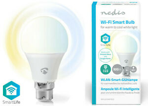 Nedis Smart Warm Cool White Lightbulb 9W > 60W B22 WiFi App Control Alexa Google