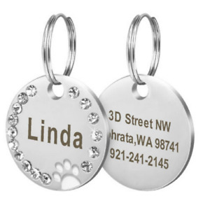 Custom Laser Engraved Pet Dog Cat  Tags Personalized Bone/Paw & Free Split ring