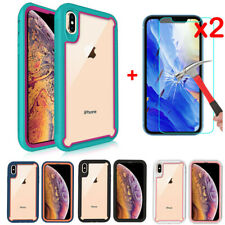 For iPhone XS Max XR X Shockproof Hybrid Clear Hard Case Cover+Screen Protector