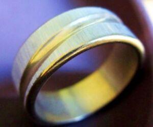 Anello Acciaio Inox Color Argento Opaco E Oro Obliquo Verlaufender Strisce
