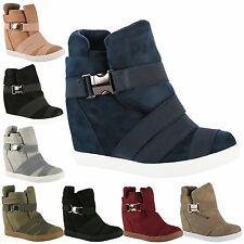 Kacie Womens Mid High Heels Hidden Wedges Ladies Ankle Boots Casual Strappy Size