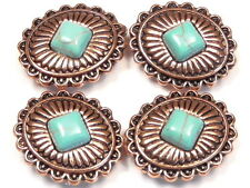 4 - 2 HOLE SLIDER BEADS COPPER PLATE WESTERN CONCHO DIAMOND SHAPE FAUX TURQUOISE