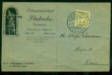 ICELAND 1937 PRINTED MATTER ADVERTISING CARD W/7AUR TIED REYKJAVIK, UNCOMMON, VF