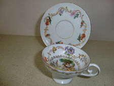 Vintage Set of Cup and Saucer Eichwald( Bohemia) Style Louis XVI signed