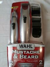 Wahl Groomsman 05622 Rechargeable Beard Mustache Hair Nose Trimmer - Black