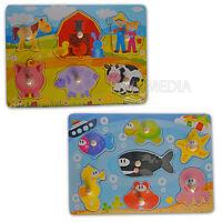 2x Steckpuzzle Holz Tiere Farm Wasser Meer Fische Setzpuzzle Puzzle Spielzeug