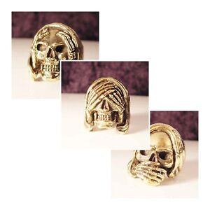 Bronze 3 Ring Set Hear See Speak no Evil Skull Rings Custom Sized Occult Voodoo