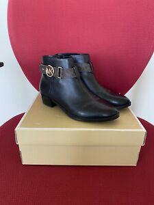 Michael Kors $140 Harland Black Leather Booties In Size 6.5 US.!! NIB.!