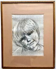 Vintage Original Pastel Portrait Painting Child Big Eyes Margaret Keane Style