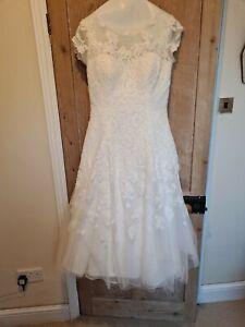 Davids bridal oleg cassini wedding dress Tea Length Size 12