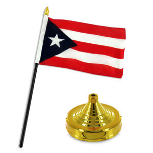 "Puerto Rico Rican 4""x6"" Flag Desk Set Table Stick Gold Base"