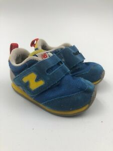 New Balance Sneaker - Infant Size 5M - Blue Yellow Hook And Loop suede/mesh