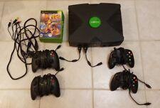 Original Microsoft Xbox Black Console bundle lot 4 controllers halo 2 toe jam